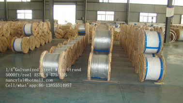 China ASTM A 475 Class A B EHS Guy Wire , 3 8 / 5 16 Inch Galvanized Steel Cable supplier